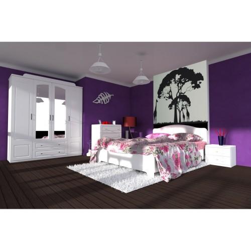 Dormitor Sara cu pat 140x200 cm cu somiera fixa imagine spectral.ro