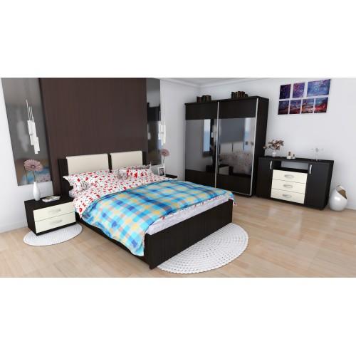 Dormitor Laguna cu pat 140x200 cu 2 sertare