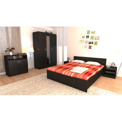 Dormitor Soft Wenge cu pat 160x200 cm imagine spectral.ro