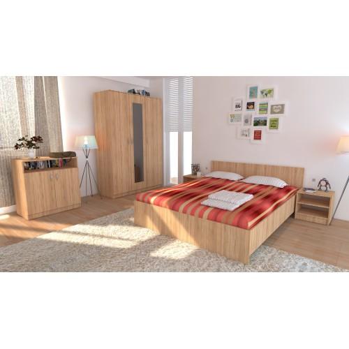 Dormitor Soft Sonoma cu pat 120x200 cm imagine spectral.ro