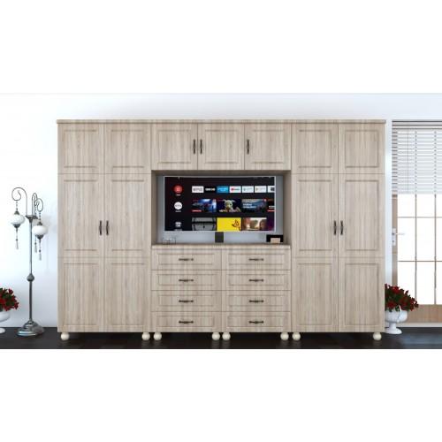 Dulap Dynasty Sonoma 7 usi si 8 sertare cu spatiu pentru televizor