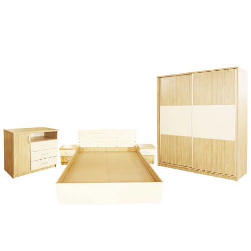 Dormitor Milano cu Pat Sonoma 140x200 cm imagine spectral.ro