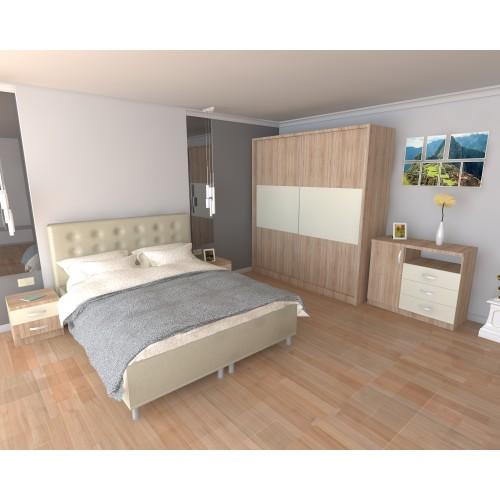 Dormitor Milano Sonoma cu Pat Tapitat Bej 160x200 imagine spectral.ro