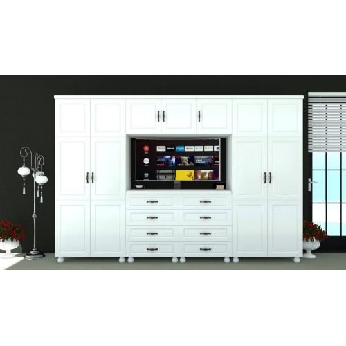 Dulap Dynasty Dormitor Alb 7 usi si 8 sertare cu spatiu pentru televizor poza spectral.ro