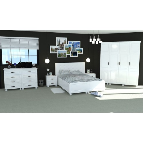 Dormitor Dynasty Alb Pat Poza