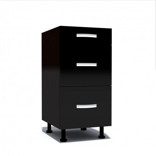 Corp inferior 40 cu 3 sertare metalice pentru greutate Zebra negru