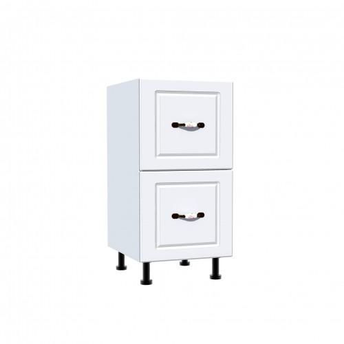 Corp inferior 40 cu 2 sertare metalice pentru greutate Zebra MDF alb drept imagine spectral.ro