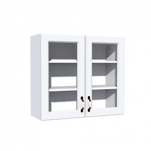 Corp superior vitrina 80 cu 2 usi Zebra MDF alb drept