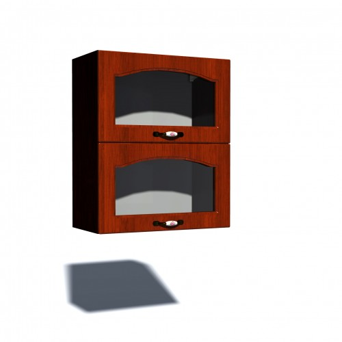 Corp superior vitrina 60 cu 2 usi orizontale Zebra MDF mustata cedru poza spectral.ro
