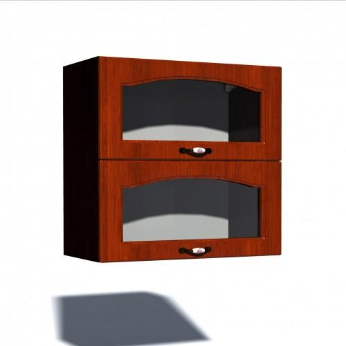 Corp superior vitrina 80 cu 2 usi orizontale Zebra MDF mustata cedru poza spectral.ro