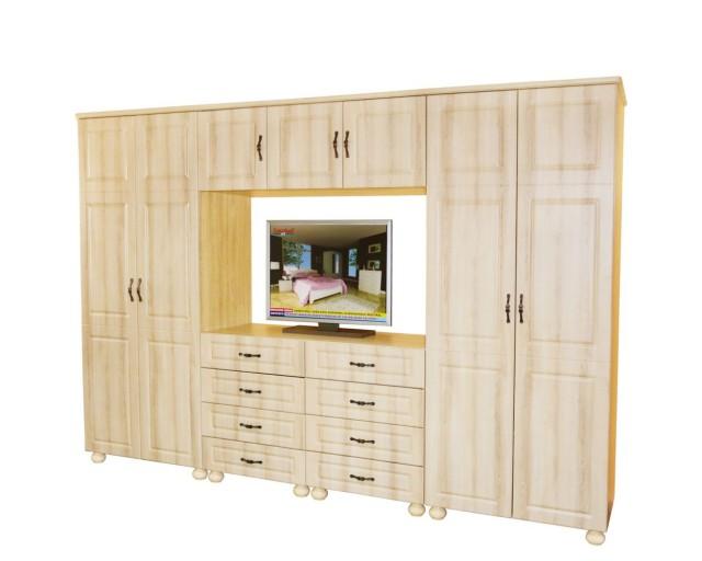 Dulap Dynasty Dormitor Sonoma 7 usi si 8 sertare cu spatiu pentru televizor