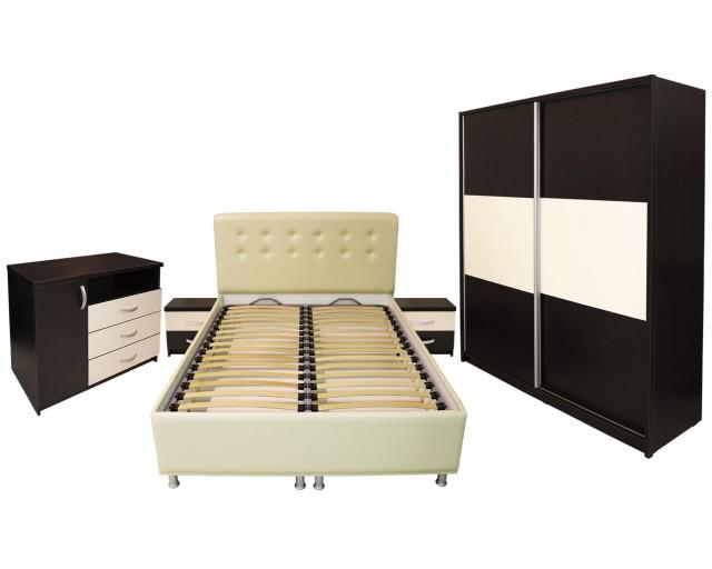 Dormitor Milano cu Pat Tapitat Bej 140x200 cm