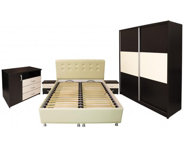 Dormitor Milano cu Pat Tapitat Bej 160x200 cm