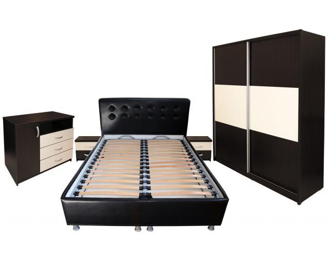 Dormitor Milano cu Pat Tapitat Wenge 160x200 cm