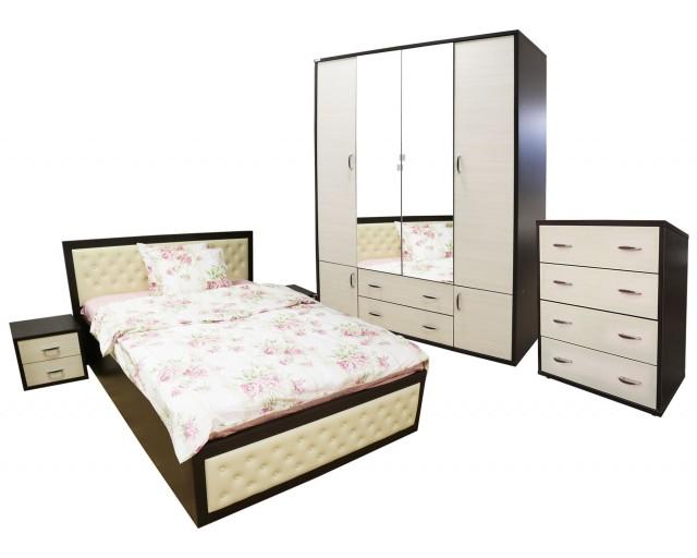 Dormitor Torino cu pat cu somiera metalica rabatabila 140x200 cm